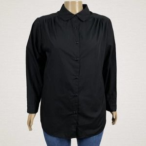 Roaman's Gathered Shoulder Button Up Shirt PLUS